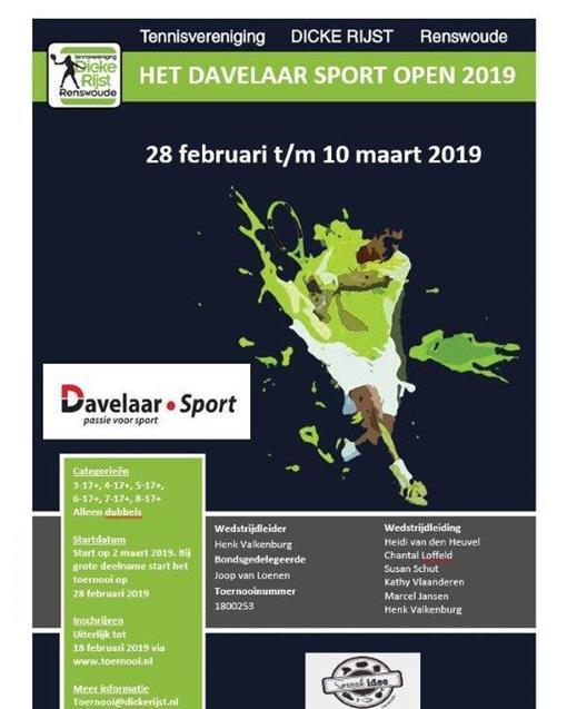 Het Davelaar Sport Open Voorjaarstoernooi 2019